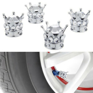 4Pcs Chrome Tire/Wheel Stem Valve Caps Bling Clear Crown Diamond Car Accessory