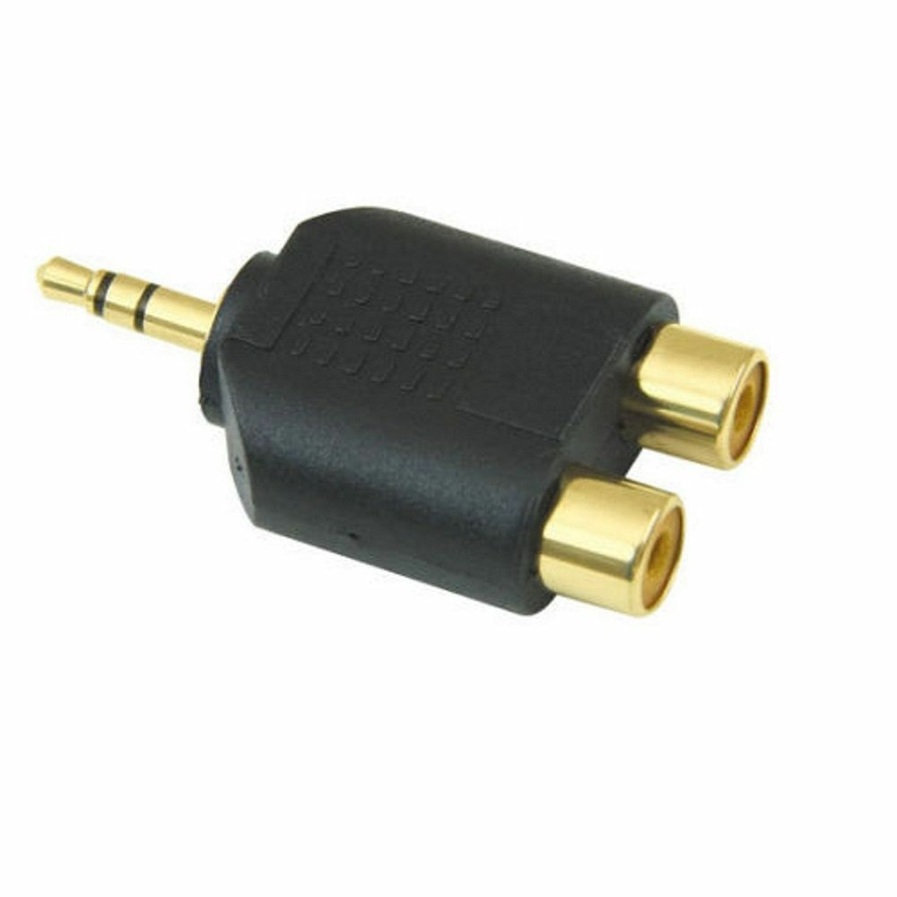 Stereo Mini Headphone 3.5 Mm Jack Plug to Twin 2 RCA Phono Sockets Audio Adapter