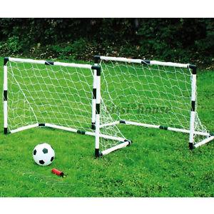 kinder mini 2 tore fu balltor set pumpe ball fussball tor 92x61x48 cm ebay. Black Bedroom Furniture Sets. Home Design Ideas