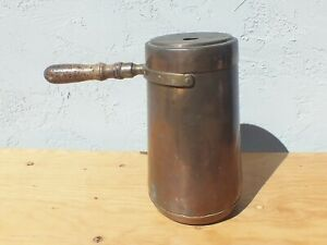 Vintage-Copper-and-Brass-Wood-Handled-Coffee-Chocolate-Pot-with-Lid-14-034-Tall