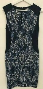 NWT-Super-Sexy-Cache-black-blue-animal-print-jersey-dress-women-039-s-size-M