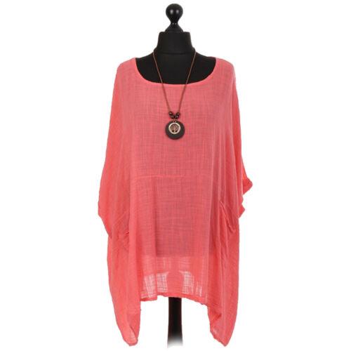 Ladies Italian Plus Size Cotton Quirky Top Womens Lagenlook Tunic Dress Shirt