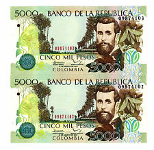 Colombia … P-452 New … 5000 Pesos … 19-Ago-2012 … *UNC*  Consecutive Pair.
