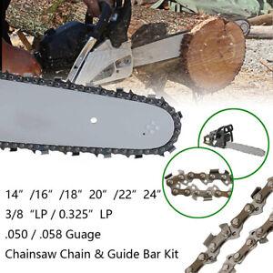 Tronconneuse-14-16-18-20-22-24-034-Chaine-Guide-Bar-Kit-325-3-8-034-LP-050-058-034-Guage