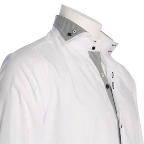 Uomo Doppio Collo Camicia Formale Italian Abito Ottima Qualità Di Marca Camicie