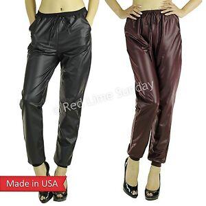Black Burgundy Faux Leather Drawstring Jogger Jogging Pants Pocket Regular Plus   eBay