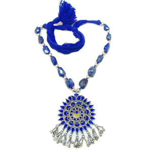 Tribal-Look-Natural-Lapis-Lazuli-amp-Pearl-Old-Silver-Tumbled-Beaded-Necklace-158g