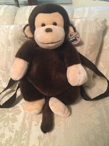 "NWT Original Mango 19"" Teddy Bear Plush Backpack Stuffed Animal Brown VTG"