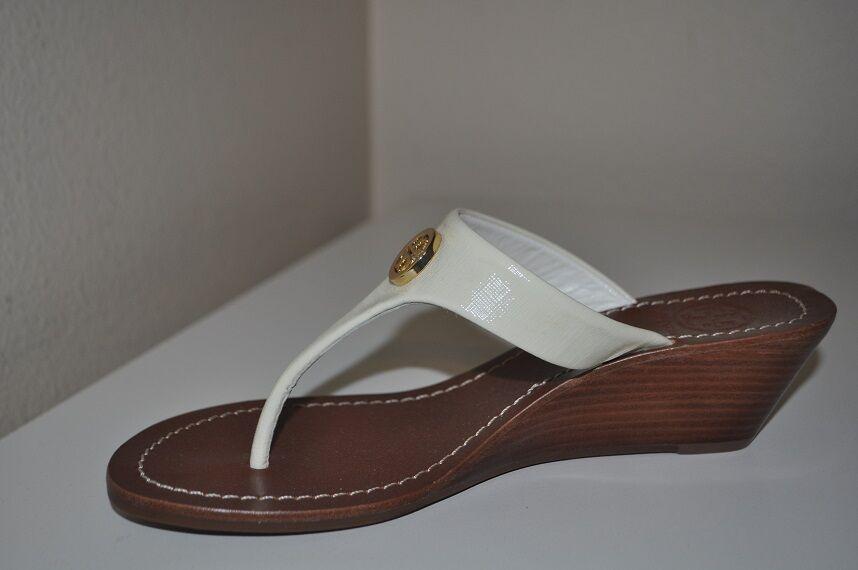 Nuevo 185+ marfil marfil marfil con el logotipo de Tory Burch Cameron oro Cuña Sandalias Zapatos Talla 9.5 40b97a