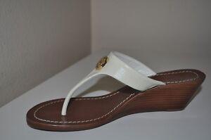 161b79b61d80 NEW 185+ Tory Burch CAMERON Gold Logo IVORY WEDGE Thong Sandals Shoe ...