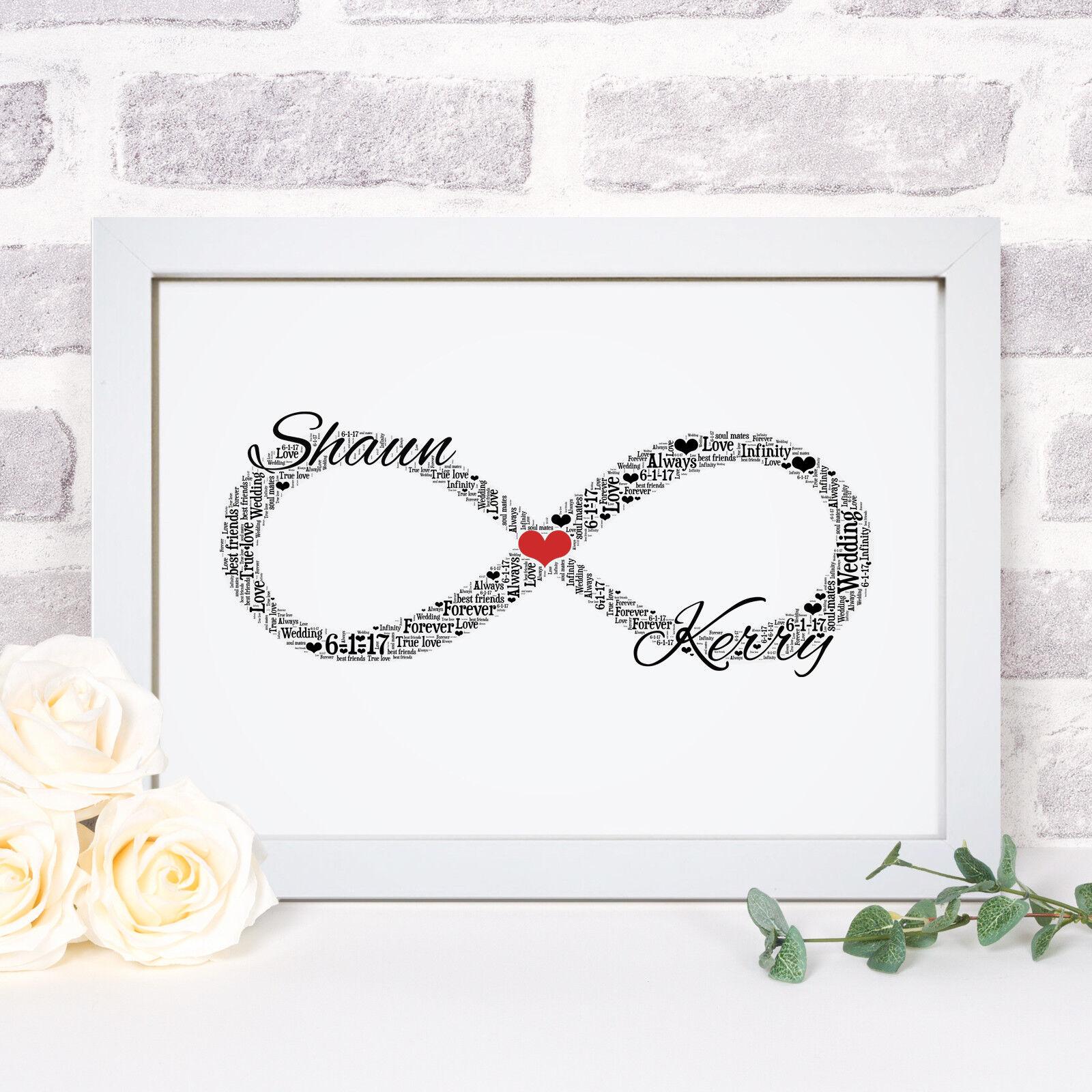 Personnalisé Mot Art Infinity Knot symbole Photo Imprimer Cadre Cadeau