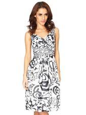 QUIZ Cream & Black Chiffon Feather Print & Jewel Dress Ladies UK 14 Box1296 j
