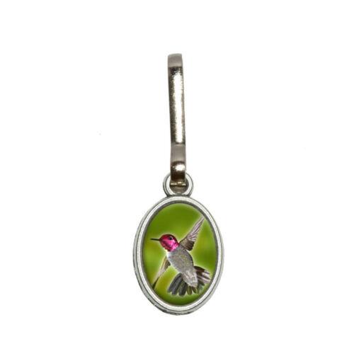 Hummingbird Bird Antiqued Oval Charm Clothes Purse Backpack Zipper Pull