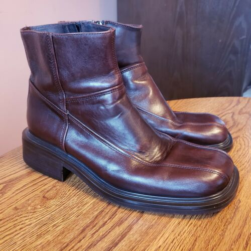 Aldo Mens sz 8 Brown Leather chunky 90s Ankle Boot