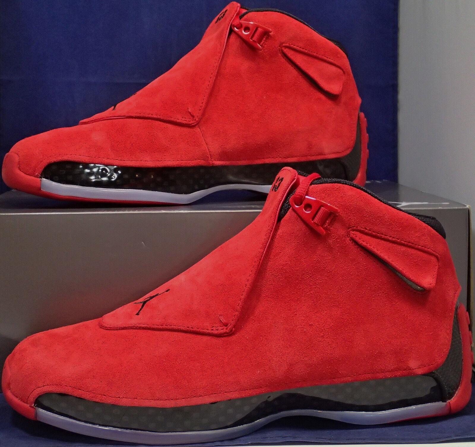 Nike Air Jordan 18 XVIII Retro TGold Turnhalle Rot Schwarzes Veloursleder Sz 10.5 Frei