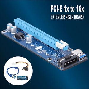PCI-E-Express-Riser-Karte-1xto16xUSB3-0Data-Kabel-60CM-SATA-zu-4Pin-IDE-Molex