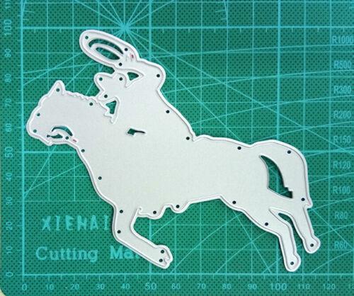 Cowboy Women Men Riding Horse Stencils Metal Cutting Dies Scrapbook Card Die
