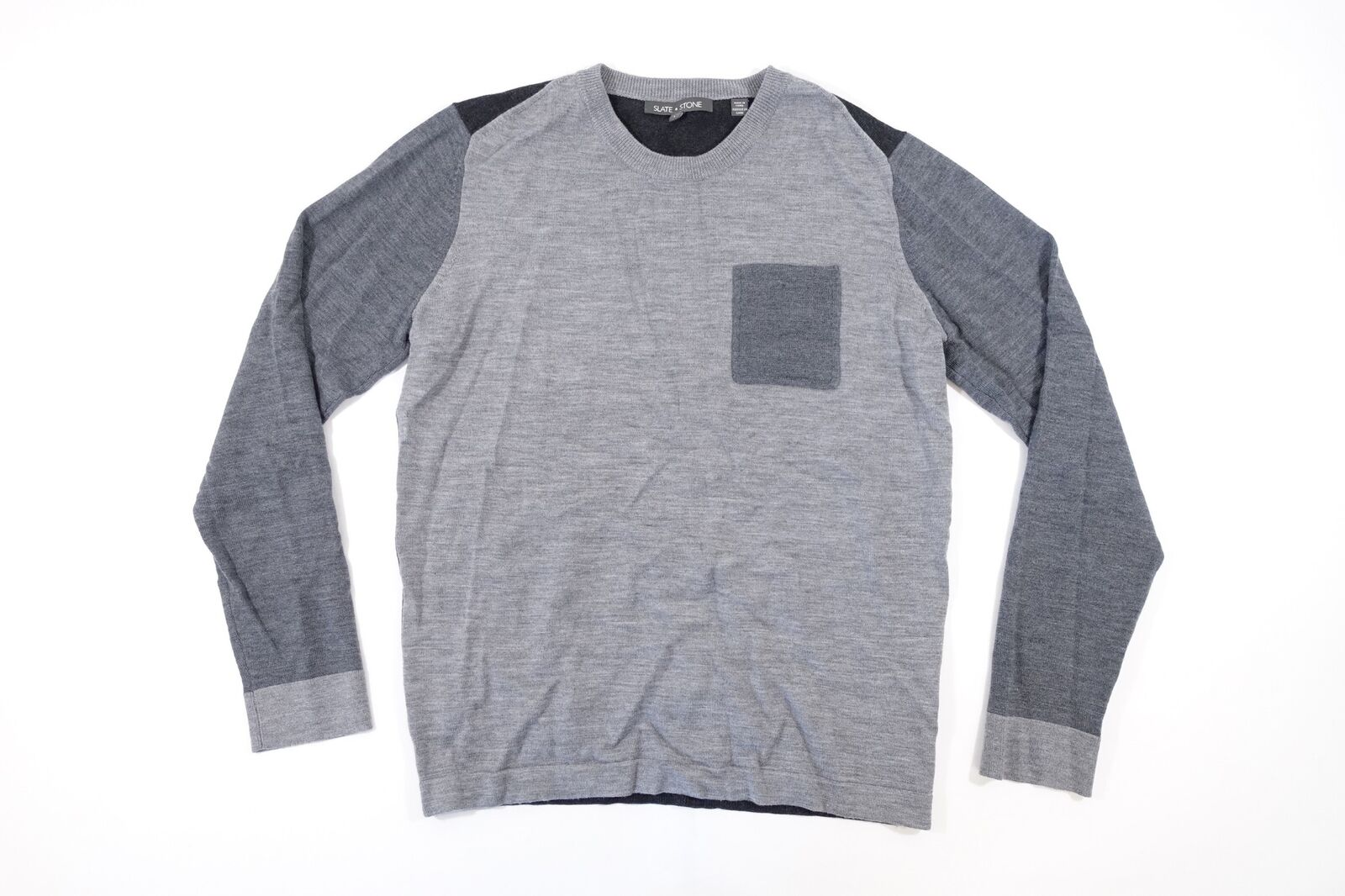 Slate & Stone Farbblock Grau Groß 100% Merino Wolle Tasche