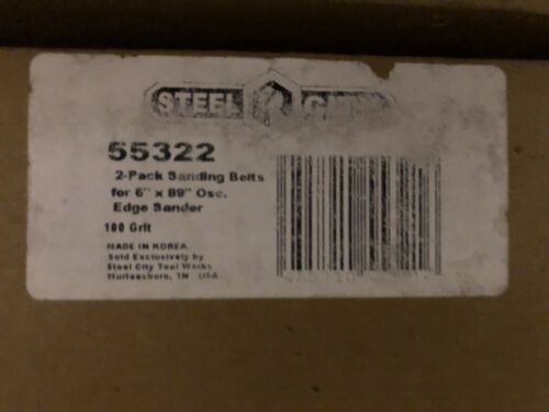 "2 PACK STEEL CITY 6/"" x 89/"" 100 GRIT SANDPAPER BELTS FOR EDGE SANDER # 55322"