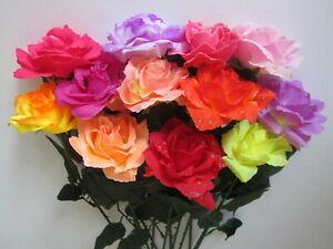 12-Deko-Rosen-55cm-Blueten-10cm-Kuenstliche-Kunst-Seiden-Blumen-Strauss-Pflanzen