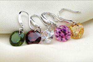 Simple-Pendientes-Gancho-Plata-Aretes-Colgante-Cristal-earring-Regalo-Mujer