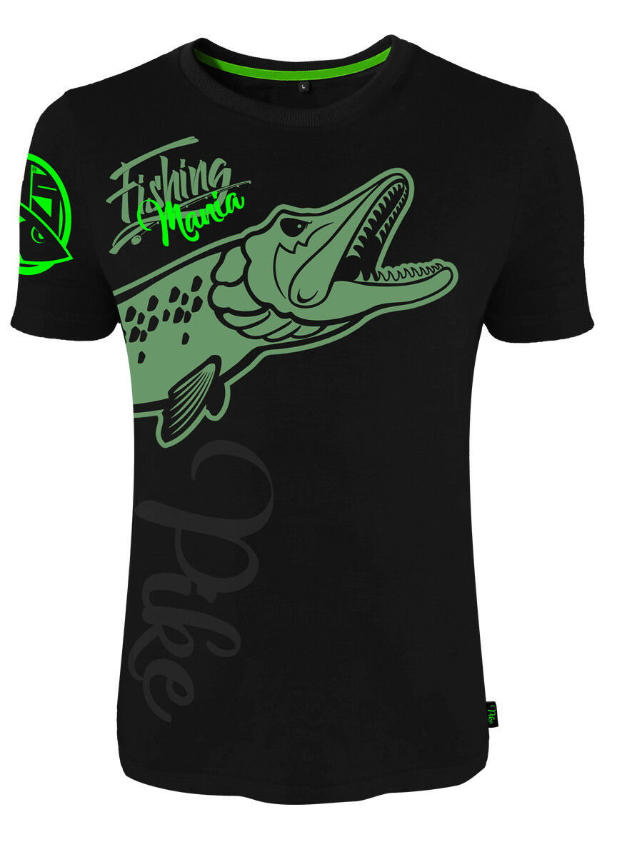 Hotspot Design T-Shirt Fishing Mania Pike - Collection Mania, black green