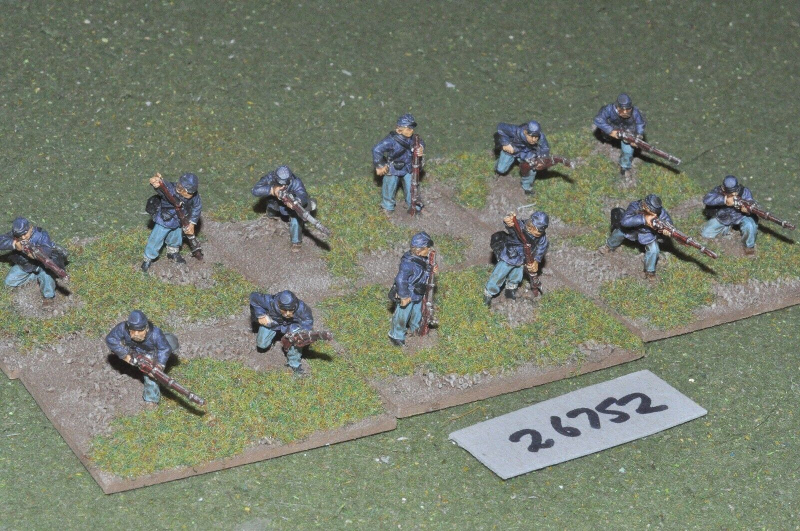 25mm ACW   union - skirmishers 12 figures - inf (26752)