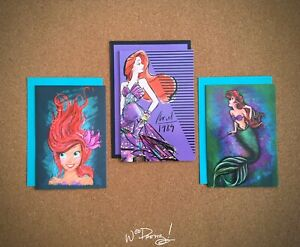2013-Art-of-Ariel-amp-2018-Disney-Designer-Premier-Princess-Note-Cards-Set-of-3