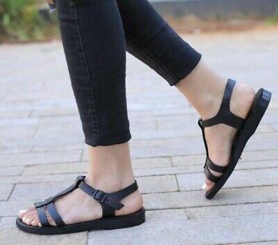 Leather Women's Strappy Jesus Sandals Roman Flats Slides Ladies Flip Flops Greek | eBay