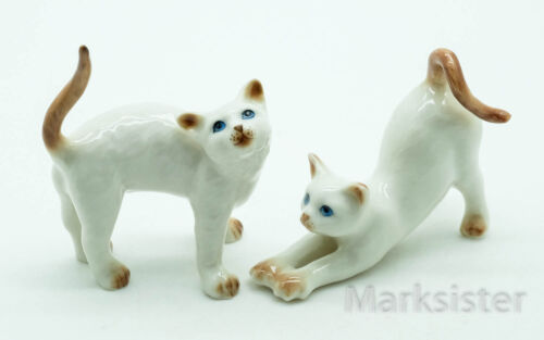 2 Cat Kitten Stretching Cajoling Ceramic Figurine Animal Statue CCK061