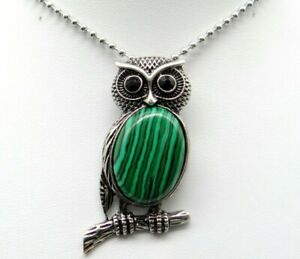 Natural-malachite-Gem-beads-animal-Owl-Retro-Silver-Pendant-necklace-Jewelry-P1