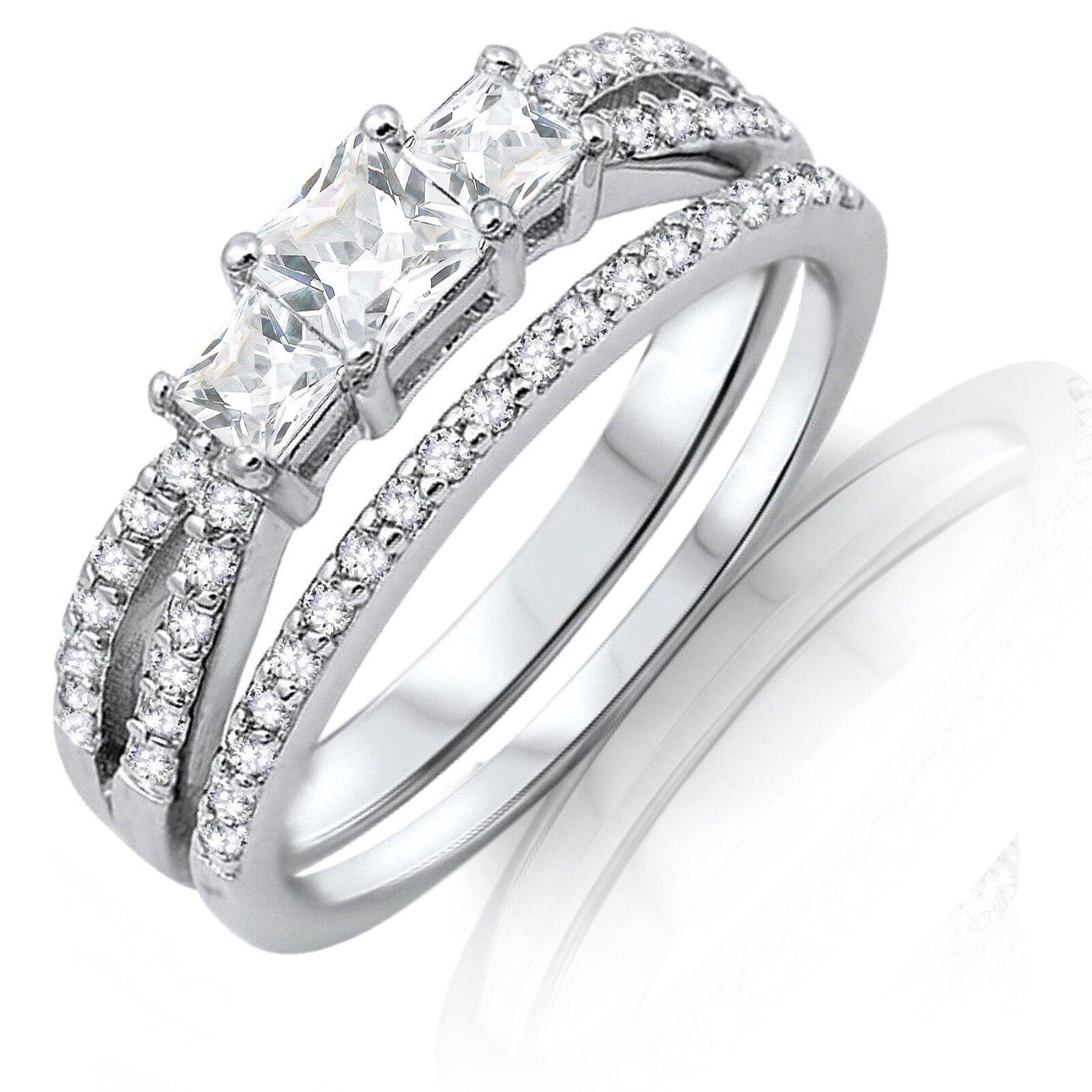 3 Principessa Principessa Principessa Finto Diamanti argentoo Sterling Anello di Fidanzamento Set eabd57