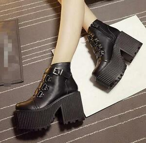 Womens-ankle-boots-buckle-strap-platform-high-chunky-heel-shoes-round-toe-punk