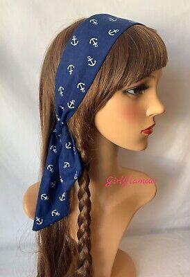 Nautical Anchor Headband Bandana Headscarf Bow Boat Hairband Tie Band Scarf Blue
