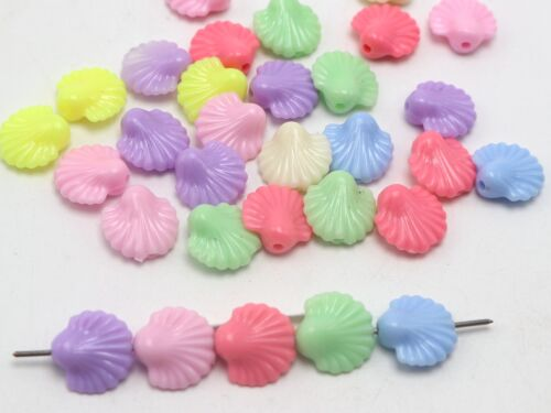 100 Pcs Mixte Pastel Couleur Acrylique Shell Beads 14 mm Jewelry Making