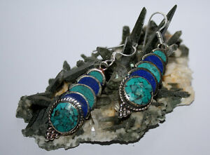 Wholesale-Sterling-Silver-Earring-handmade-Tibetan-Hook-Turquoise-Lapis-Top-ER1