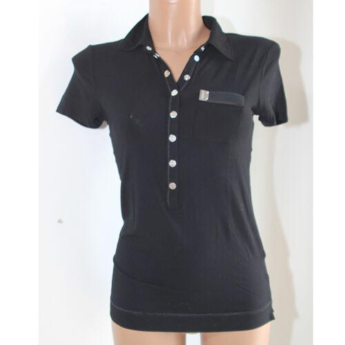 M Polo Nera Tshirt Pinko Corta Donna Rebus Maglia Taglia Viscosa Manica wqE85t