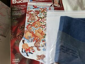 Opened-Bucilla-A-Wild-Life-Christmas-Stocking-Counted-Needlepoint-Kit-L-Gillum