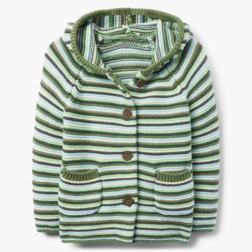 NWT Gymboree I/'m New Here Baby Boys Green Striped Hooded Cardigan Sweater