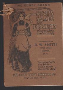 Olney Brand Soups Salads Desserts Booklet Burt Olney Oneida NY 1909 6th Ed