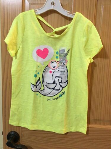 New Carter/'s Narwhale Tee Shirt Top Girls Short Neon yellow//Green 10//12
