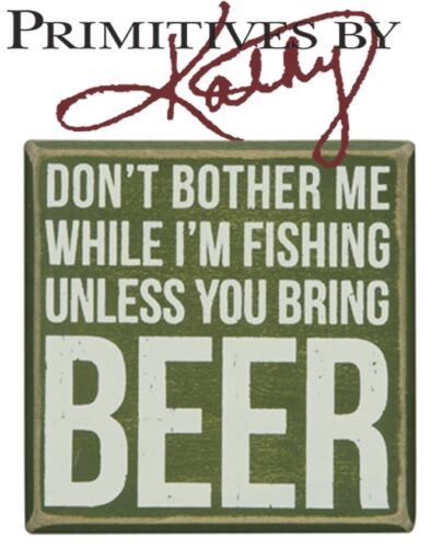 """Bring Beer 4/""""x4/"""" Fishing Den Gifts Primitives By Kathy Rustic Wooden Box Sign"""