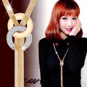 Silver-Women-Lariat-Necklace-Chain-Long-Fashion-Gold-Jewelry-Tassel-Pendant