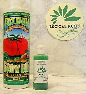 Fox Farm, Grow Big, plant fertilizer, hydroponics, soil 2oz bottle, nutrients,
