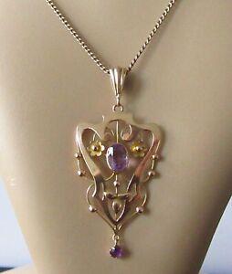 Collar De Amatista De Oro-Eduardiano 9ct Oro Amatista Colgante & 9ct Cadena de oro