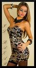 vestito donna mini abito corto damascato full paillettes nero-oro tg 40,42,44