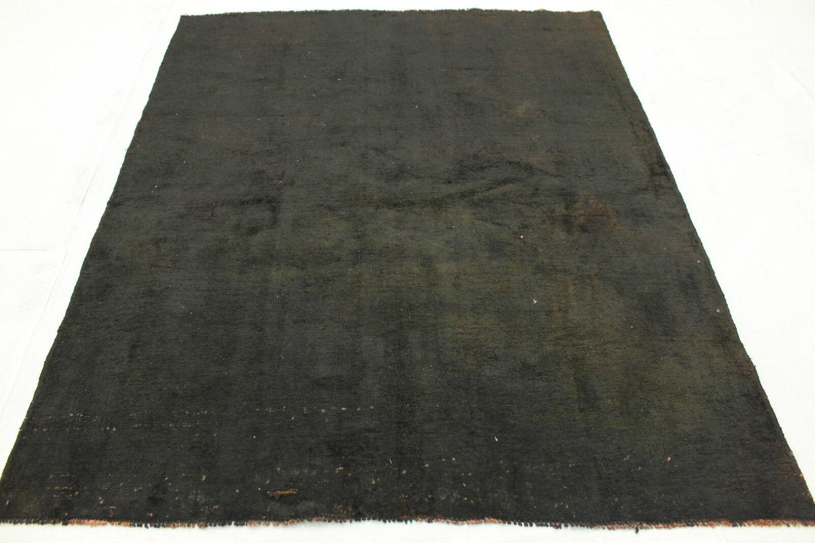 Vintage Orient alfombra negra 190x160 look usado hecha decorativo 2833