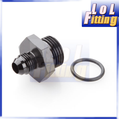6 AN6 6AN to AN-10 7//8-14 UNF stright cut male Adapter With O-Ring BLACK AN