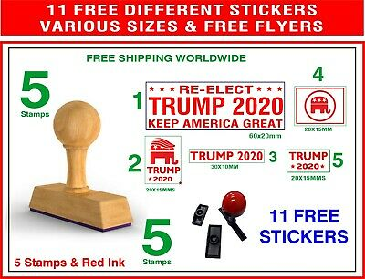 Donald Trump TRUMP 2020* Patriotic Wood Rubber 3 Stamps FREE Badge Red Stickers