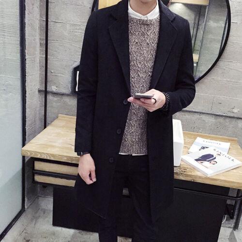 Men/'s Slim Trench Coat Long Single Breasted Overcoat Lapel Jacket Parka Outwear